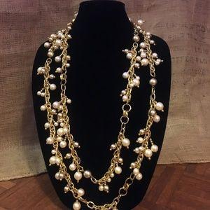 🕶Stylish necklace - long strand -pearl-like beads